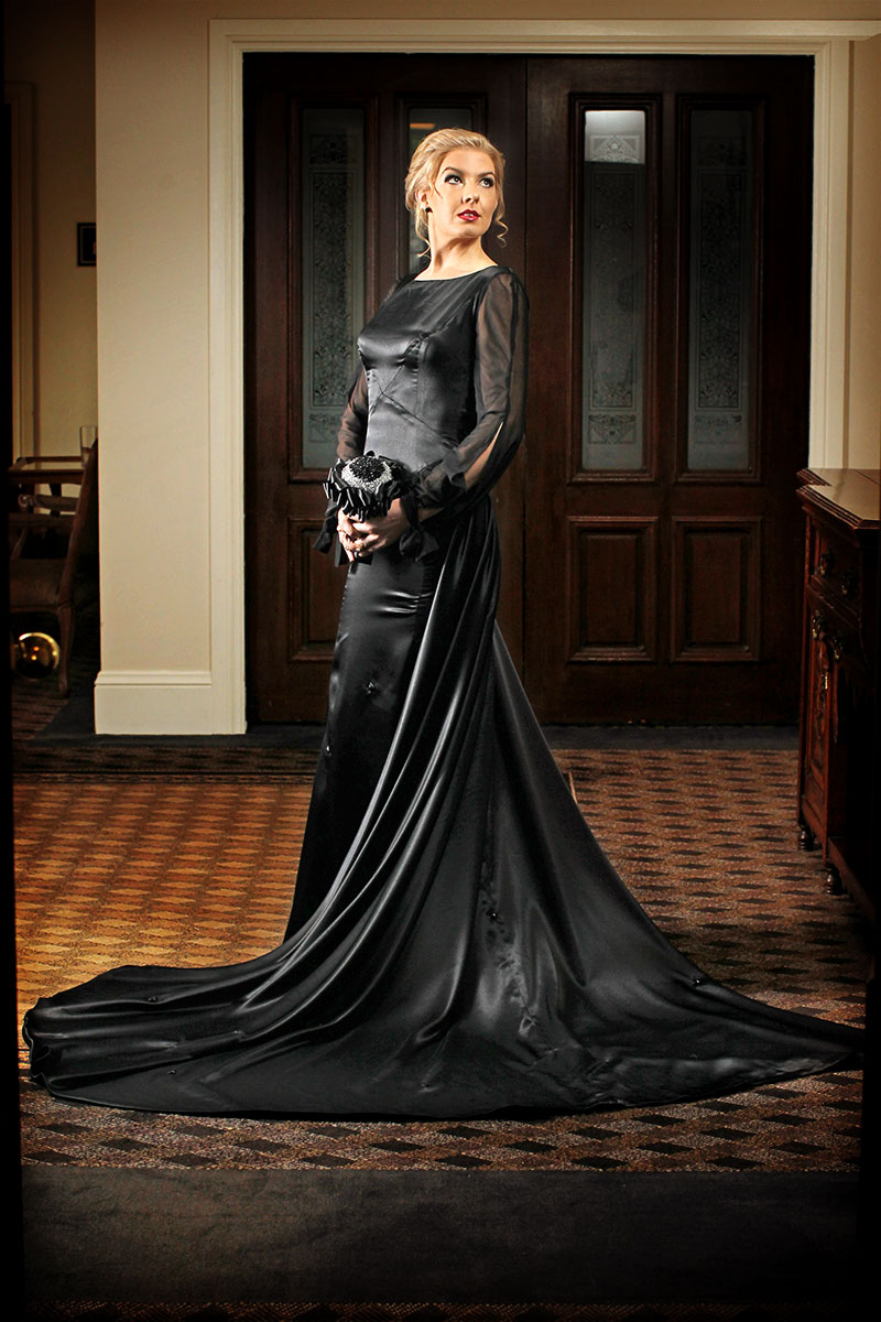 Black Flower Back - Black Wedding Dress